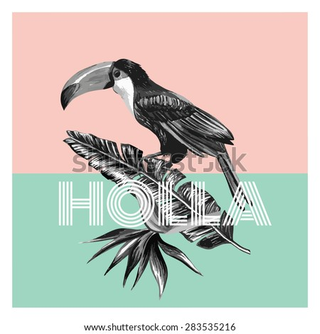 toucan and tropical plants trendy print - stock vector