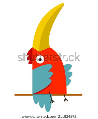 Toucan Bird with Big Beak Sitting. Colorful cartoon exotic red bird. Vector illustration EPS8 - stock vector