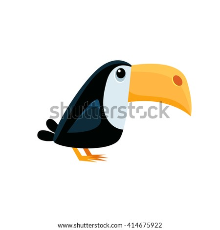 Toucan Funny Childish Cartoon Style Flat Vector Illustration In Bright Colors Isolated On White Background