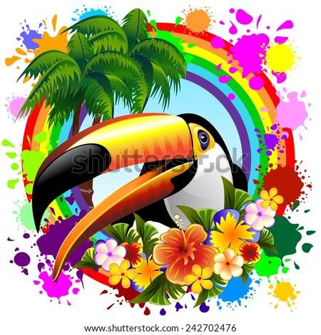 Toucan on Rainbow Tropical Frame - stock vector