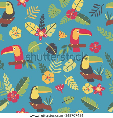 Toucans and tropic plants - seamless pattern - stock vector