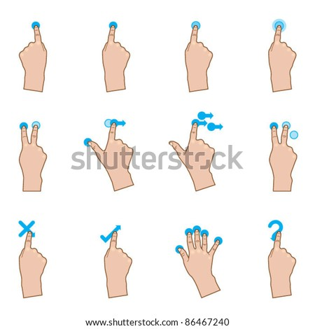 Touch Gestures - stock vector