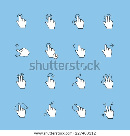 Touch Gestures Icons set, thin line,  modern vector collection - stock vector