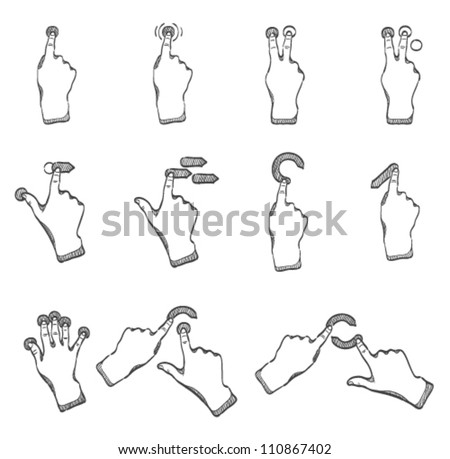 Touch pad gestures icons series in sketch - stock vector