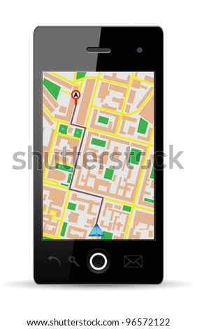 Touch screen cellphone gps. Vector Illustration. EPS10.