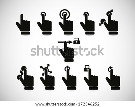 Touch Screen Gesture Collection - stock vector