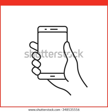 Touch screen gestures icon for smartphone. Simple outlined vector icon for a mobile app user interface or manual. Smartphone gesture icon in linear style - stock vector