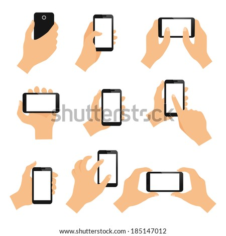 Touch screen hand gestures design elements of swipe pinch and tap isolated vector illustration - stock vector