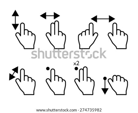 Touch screen hand gestures symbols set isolated on white - stock vector