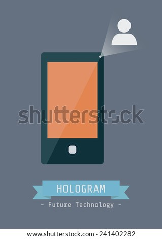 touch screen mobile phone with hologram technology, technology for the future - stock vector