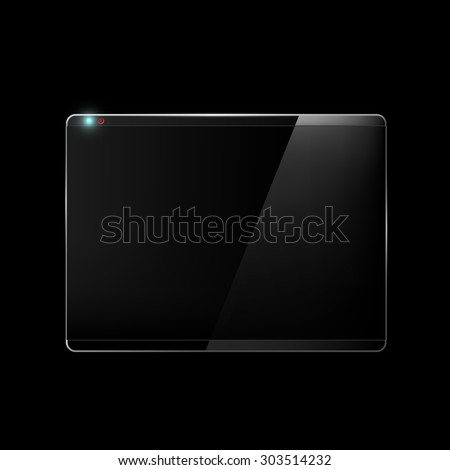 Touch screen. Monitor isolated on a black background. Stock Vector. - stock vector