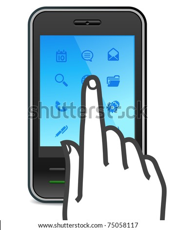 touch screen smartphone icon with finger pushes button - stock vector