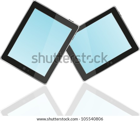 Touch screen tablet computer with blue screen - stock vector
