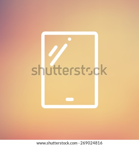 Touch screen tablet icon thin line for web and mobile, modern minimalistic falt design. Vector white icon on gradient mesh background. - stock vector