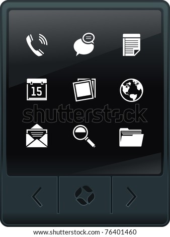 touch screen tablet PC with interface icons - stock vector
