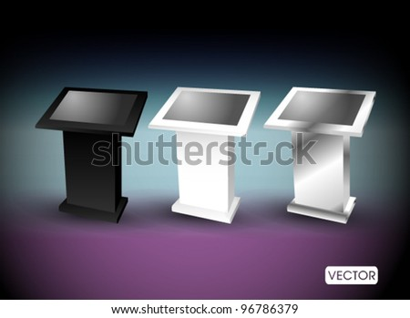 touch screen terminal stand - stock vector