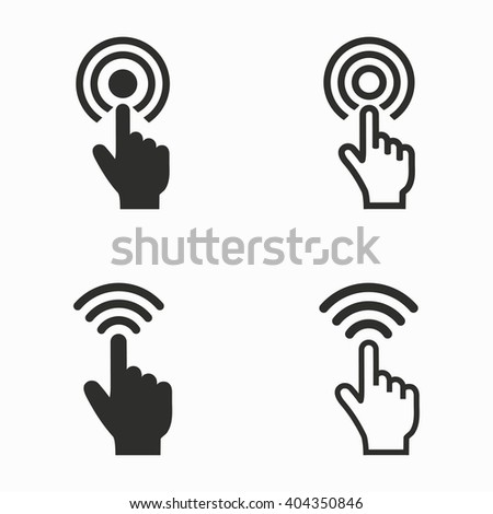 Touch     vector icons set. Black  illustration isolated on white  background for graphic and web design. - stock vector