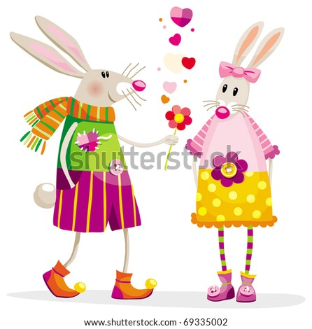 Touching bunnies in a romantic situation with a flower - stock vector