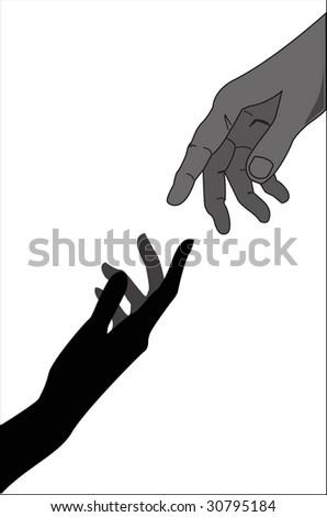 Touching hands - vector illustration - stock vector