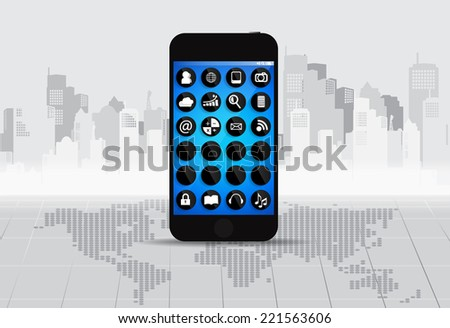 Touchscreen device with applications icons. Vector illustration. - stock vector