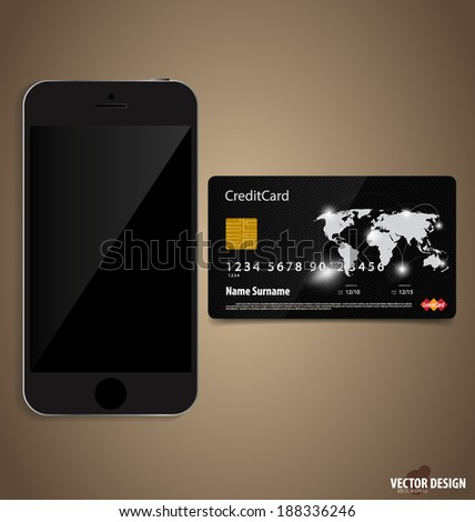 Touchscreen device with credit card. Vector illustration. - stock vector
