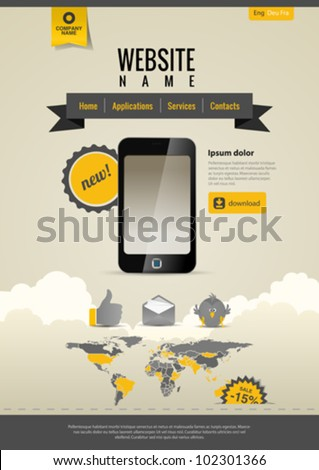 Touchscreen Mobile applications. Smartphone. Website template Retro style. Yellow Black. - stock vector