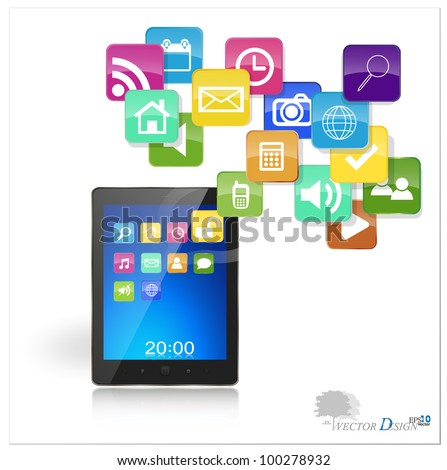Touchscreen modern tablet pc with cloud of colorful application. Vector illustration. - stock vector