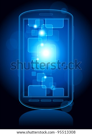 touchscreen phone with a transparent buttons.  Concept of the modern internet. File is saved in AI10 EPS version. This illustration contains a transparency - stock vector