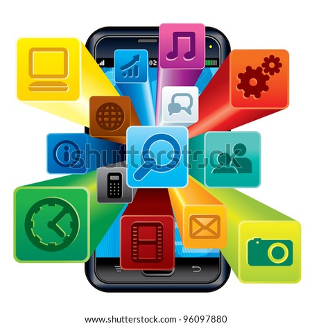 Touchscreen Phone with Cloud of Application icons. 3D Vector Illustration - stock vector
