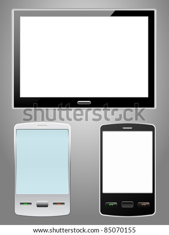 Touchscreen smartphone and tablet computer - stock vector