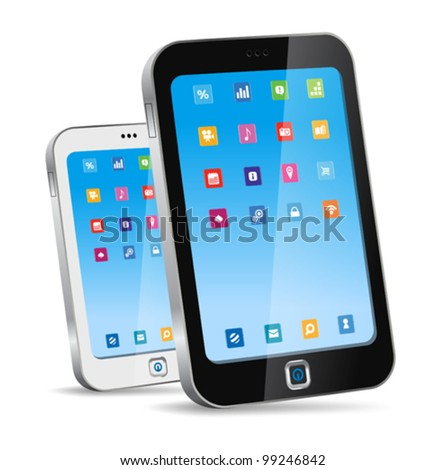 Touchscreen smartphone concept. Vector. Editable - Just place your picture on the screen. - stock vector