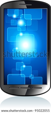 touchscreen smartphone  with a transparent buttons.  Concept of the modern internet. File is saved in AI10 EPS version. This illustration contains a transparency - stock vector