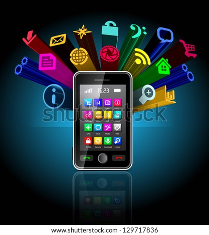 Touchscreen smartphone with applications icon on black - stock vector
