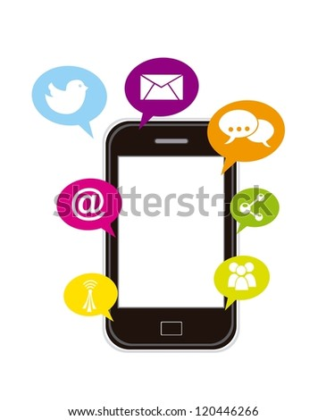 touchscreen smartphone with apps. vector illustration