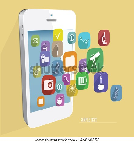 Touchscreen smartphone with cloud of colorful application icons . Vector illustration. - stock vector