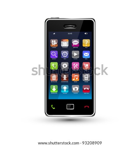 touchscreen smartphone with colorful application icons - stock vector