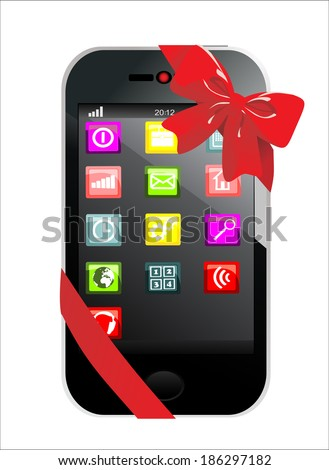 Touchscreen smartphone with  red ribbon - stock vector