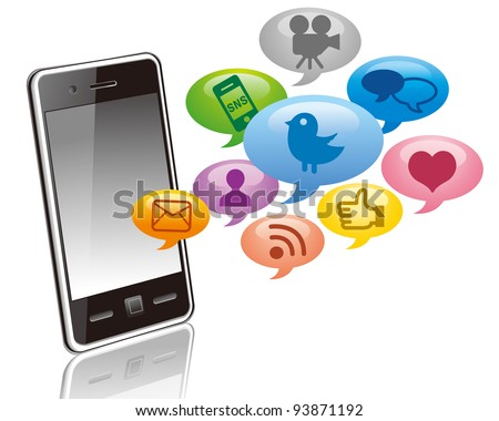 Touchscreen smartphone with social media icons isolated on white background vector - stock vector