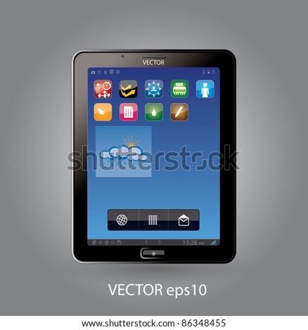 Touchscreen tablet  - smartphone - stock vector