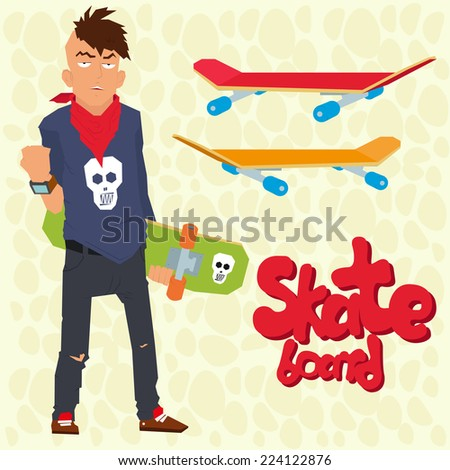 tough guy with a skateboard and fashionable hairstyle. punk rock and skateboard. teenager. ekstrimal. vector illustration in a flat style. - stock vector