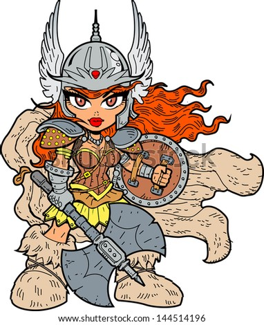 Tough Sexy Anime Manga Warrior Princess With Battle Axe and Shield - stock vector