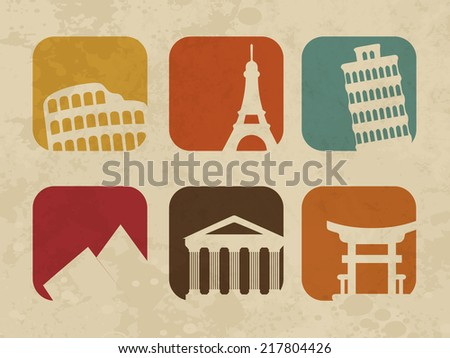 Tour and traveling concept with wonders of the world on grungy beige background.  - stock vector