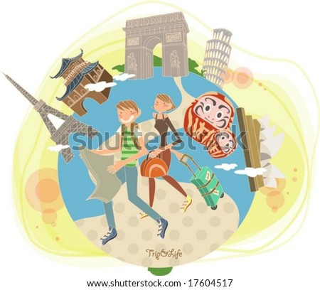 Tour Worldwide with Cute Friends - traveling with smiling happy young couple and famous architectures in the world on summer holiday background with yellow sunset sky and cloud : vector illustration - stock vector