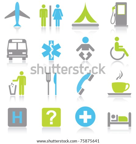 Tourism and travel icons - stock vector