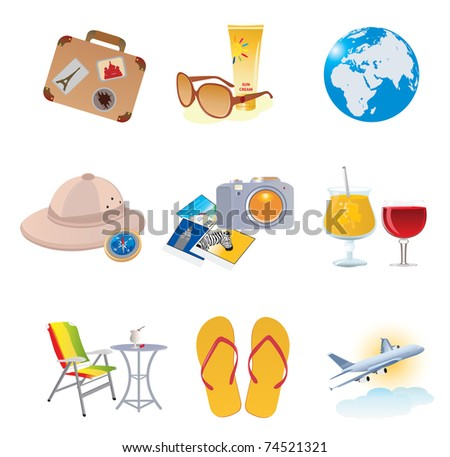 Tourism and vacation icons. Vector illustration - stock vector