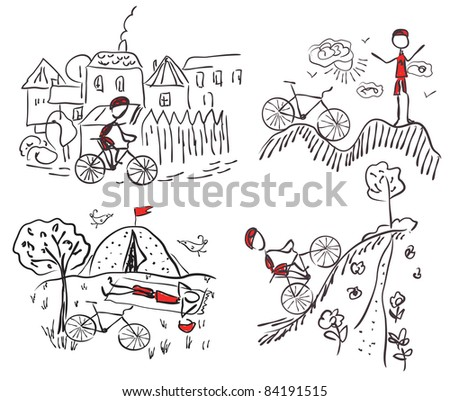 Tourism bicycle doodle sketches - stock vector