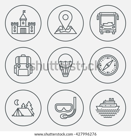 Tourism Circle Round Icon Set. Line Design Vector Illustrations. - stock vector