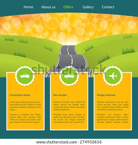 Tourism homepage template for advertising holidays vacations travels - stock vector