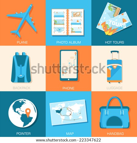 tourism icons set concept. Tourism with fast travel on a flat design style. Vector illustration  - stock vector
