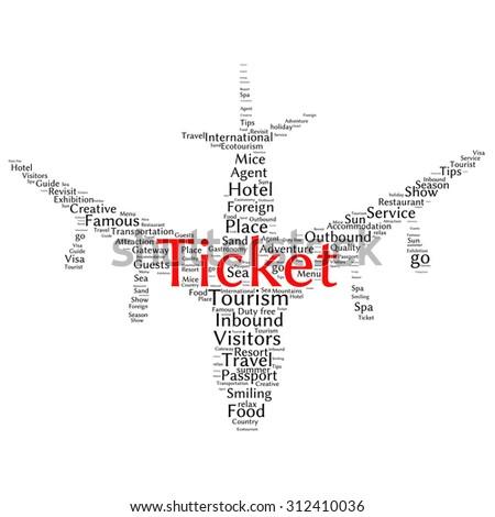 Tourism info-text graphics and arrangement concept (word cloud) - stock vector